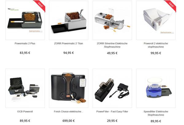 Stopfmaschineshop.com elektrische modelle